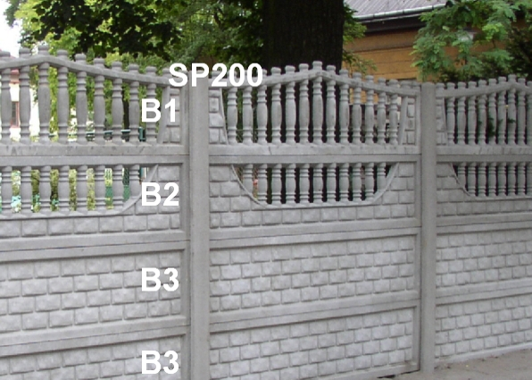 Betonový plot B1,B2,B3,B3,SP200