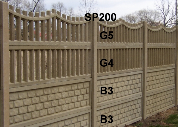 Betonový plot B3,B3,G4,G5,SP200