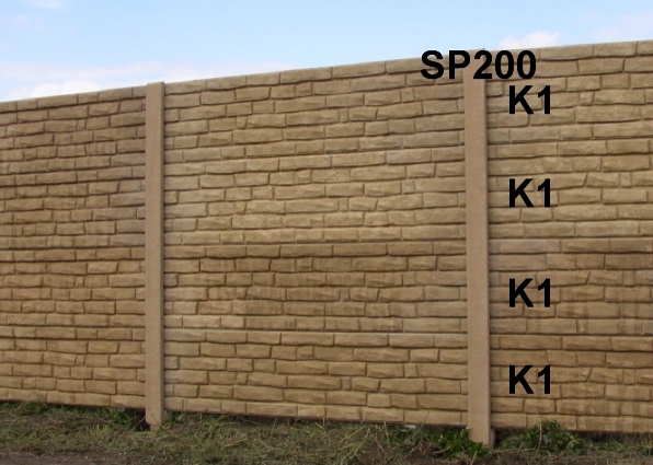 Betonový plot K1,K1,K1,K1,SP200