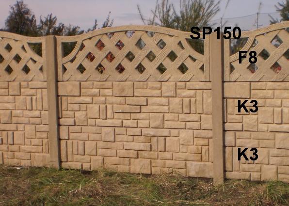Betonový plot K3,K3,F8,SP150