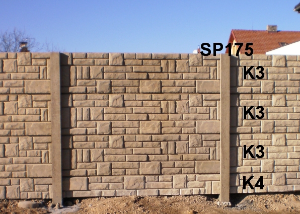 Betonový plot K4,K3,K3,K3,SP175