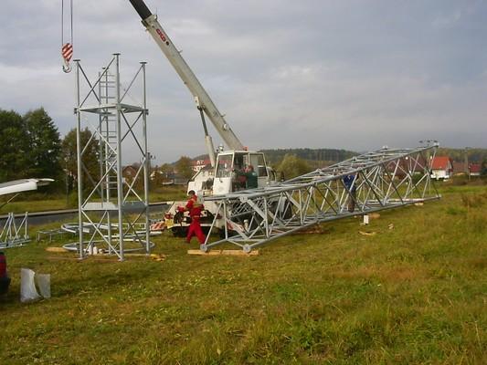 Výroba a montáž trubkového příhradového stožáru v Zákupech