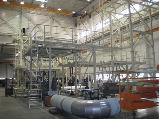 Předmontáž technologické ocelové konstrukce v Pécsi v Maďarsku